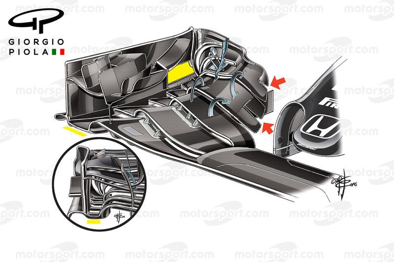 McLaren MP4/31 voorvleugels vergelijking, Barcelona