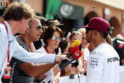 Lewis Hamilton, Mercedes AMG F1 with Kai Ebel, RTL TV Presenter