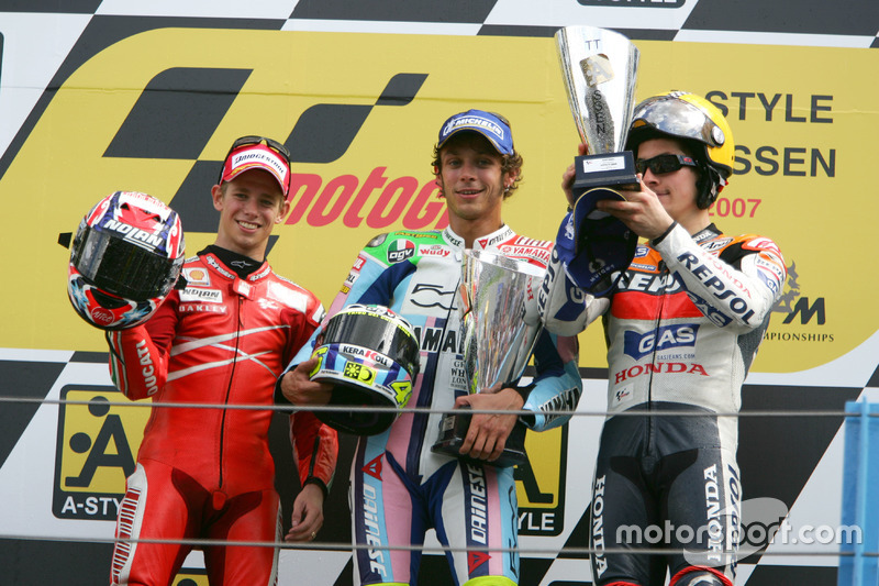 2007: 1. Valentino Rossi, 2. Casey Stoner, 3. Nicky Hayden