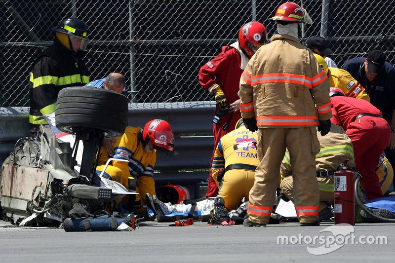 Choque fuerte de Robert Kubica, BMW Sauber F1 Team, F1.07