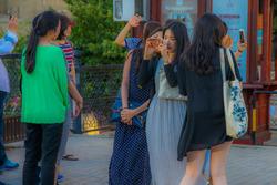Turistas en Bakú