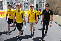Esteban Ocon, Renault Sport F1 Team Test Driver and Kevin Magnussen, Renault Sport F1 Team walk the circuit with the team