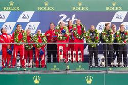 LMGT Am podium: class winners #62 Scuderia Corsa Ferrari 458 Italia: Bill Sweedler, Jeff Segal, Townsend Bell, second place #83 AF CorseFerrari 458 Italia: François Perrodo, Emmanuel Collard, Rui Aguas, third place #88 Abu Dhabi Proton Competition Porsche