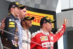 Lewis Hamilton, Mercedes AMG F1 Team, Kimi Raikkonen, Scuderia Ferrari y Max Verstappen, Red Bull Racing