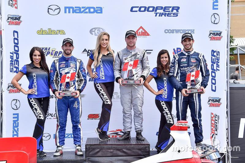 Podio: ganador de la carrera Felix Rosenqvist, Belardi Auto Racing, segundo lugar Felix Serralles, Carlin, tercer lugar Kyle Kaiser, Juncos Racing