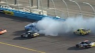 Sam Hornish Jr spins barely missing other cars!