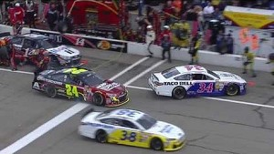 NASCAR close call for Jeff Gordon on pit road | New Hampshire Motor Speedway