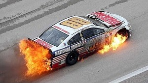 NASCAR | Dale Earnhardt Jr hits wall, car catches fire