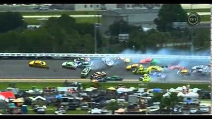 25 car pileup at Daytona - Kyle Busch flips