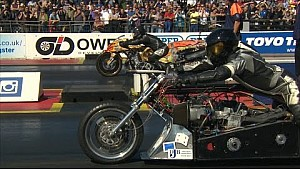 AMAZING Top Fuel Drag Bike Crash at Santa Pod Raceway