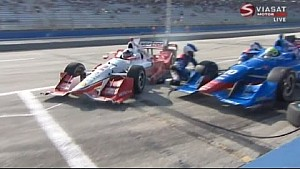 Juan Pablo Montoya almost hits crew guy at Milwaukee