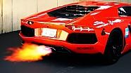 Lamborghini Aventador Sound Flames Fire Flammen V12 Exhaust Revs Revving