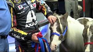 Eddie Gossage gives Jeff Gordon two shetland ponies.