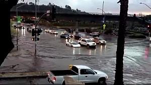 Lamborghini driving through San Diego flood