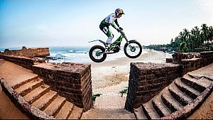 Trials rider Dougie Lampkin lets loose in Goa