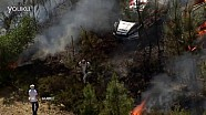 WRC葡萄牙站帕顿的现代i20赛车翻下山崖着火