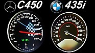 BMW 435i vs Mercedes C450 Acceleration 0-250 Autobahn Top Speed Onboard Sound