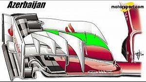 Giorgio Piola - Ferrari SF16-H voorvleugel (Baku)