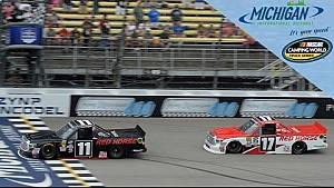 Moffitt wins at Michigan with last-lap pass