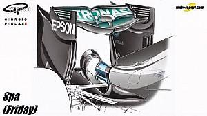 """Giorgio Piola - 梅赛德斯车队比利时大奖赛""""勺形""""尾翼以及辅助翼设定"""