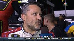 Tony Stewart reacts to Ryan Newman's harsh words in a post-race interview at Richmond