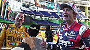 Kyle Busch crashes Travis Pastrana interview!