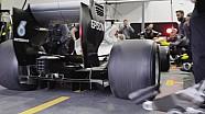 Pitstopoefening van Mercedes met de 2017-banden