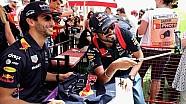 Daniel Ricciardo y Max Verstappen con aficionados en Bahrein