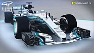 Giorgio Piola - Mercedes W08 nose and bargeboard update Barcelona (with captions)