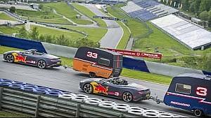 Max Verstappen et Daniel Ricciardo s'affrontent dans une course de caravanes