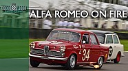 Dickie Meaden's flaming Alfa Romeo