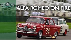 Dickie Meaden's flaming Alfa Romeo