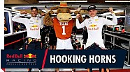 Texas longhorns Mascot Hook 'Em meets Daniel Ricciardo and Max Verstappen