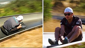 Nelson Piquet Jr. et Mitch Evans font de la luge d'été