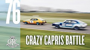 Incredible three-way Ford Capri scrap at Goodwood