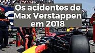 VÍDEO: Os acidentes de Verstappen em 2018